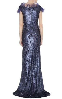 Navy blue sequin fabric tasseled sheath gown