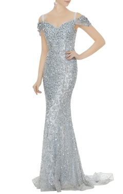 Neeta Lulla Silver net sequin cold-shoulder sheath gown