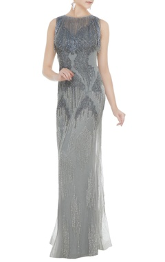 Neeta Lulla Silver net tasseled sheath gown