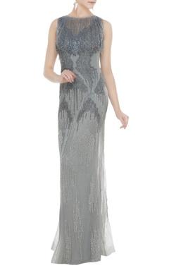 Silver net tasseled sheath gown