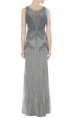 Silver net tasseled sheath gown