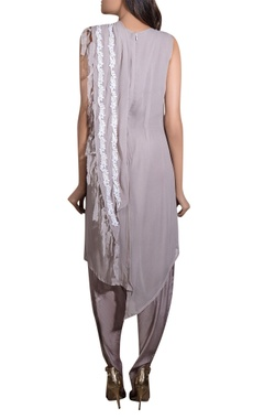 Grey georgette & cotton satin hand embroidered draped dhoti jumpsuit