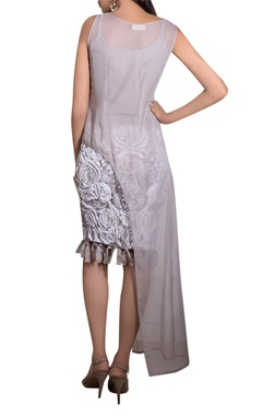 Grey georgette & lycra hand embroidered blouse and skirt