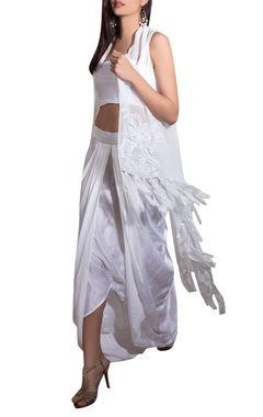 White georgette, satin & lycra hand embroidered cape with draped skirt & bustier