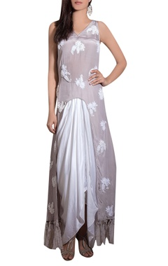Grey crepe & cotton satin hand embroidered long kurta with draped skirt