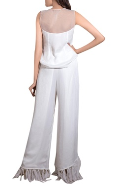 White crinkle satin hand embroidered blouse with pants