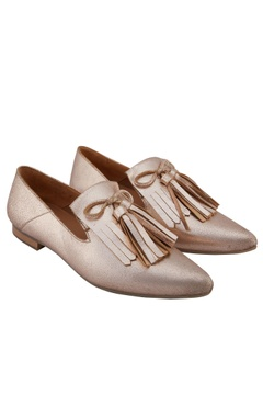 Flori By Sumiran Cosmo gold leather tasseled ballerinas