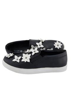 Black synthetic embellished shoes