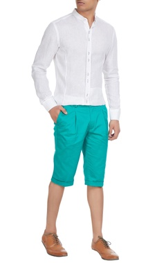 Paresh Lamba Green turn-up shorts