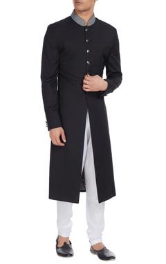 Paresh Lamba Embroidered collar sherwani with regimental buttons.