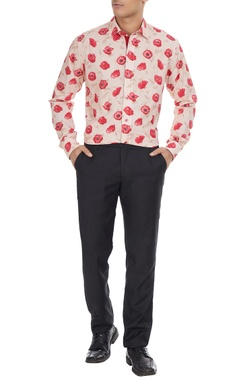 Manoviraj khosla Beige cotton shirt in pink rose print