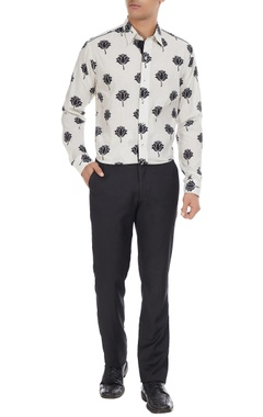 Manoviraj khosla Black & white lotus printed pure cotton long sleeve shirt