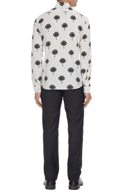 Black & white lotus printed pure cotton long sleeve shirt