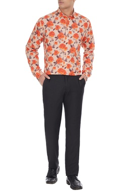 Manoviraj khosla White & orange pure cotton floral printed long sleeve shirt