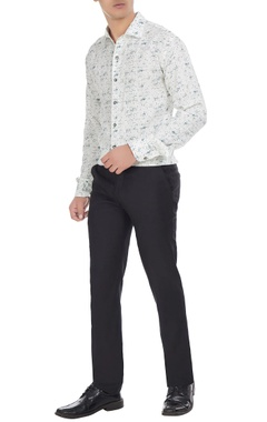 Manoviraj khosla White linen abstract printed shirt