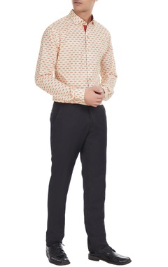 Manoviraj khosla Beige & orange moustache printed cotton shirt