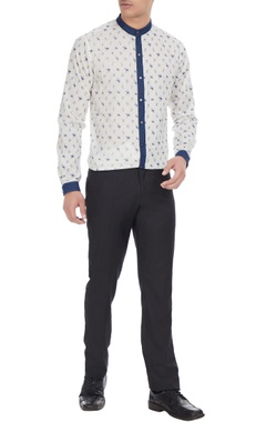 Manoviraj khosla White & blue printed cotton shirt with denim collar