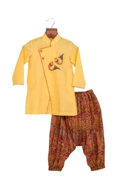 Yellow khadi linen hand embroidered sherwani with cowl pants