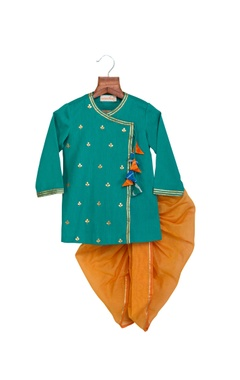 Turquoise & grey khadi linen & chanderi gota patti work & colorful tassels anghrakha with dhoti