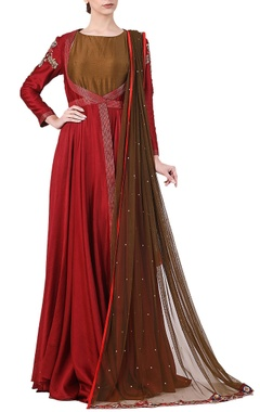 Samant Chauhan Maroon cotton silk zari work jacket with olive inner and net dupatta