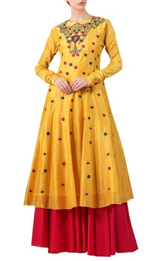 Samant Chauhan Yellow cotton silk zari & thread embroidered kurta with red cotton palazzos