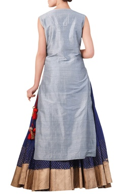 Powder blue silk thread & zari embroidered kurta with navy blue skirt