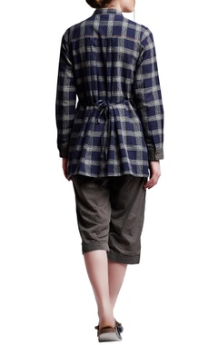 Multi-colored cotton regular side slit & embroidered shirt