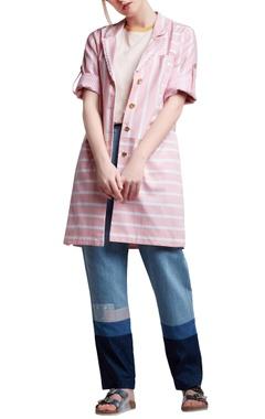 Pink & white cotton regular striped & patchwork blazer