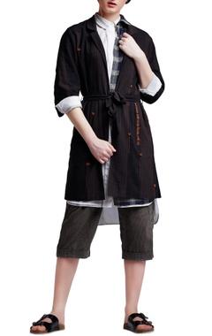 Brown cotton regular striped & embroidered blazer