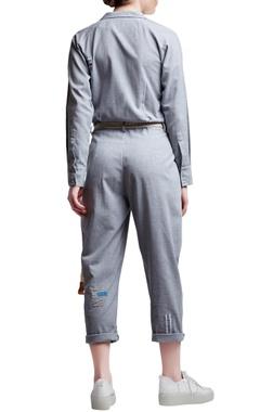 Grey cotton regular slogan & patchwork jumpsuit