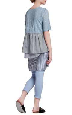 Blue & grey jersey regular paneled pants