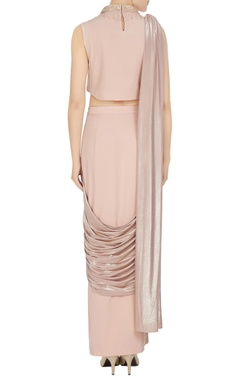 Beige & gold butterscoth & jersey embellished pre-draped sari with collared crop top