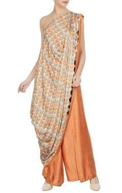 Roshni Chopra Orange & blue cotton satin printed one-shoulder toga top