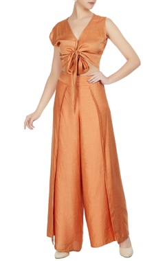 Roshni Chopra Burnt orange cotton satin crop top and flap pants