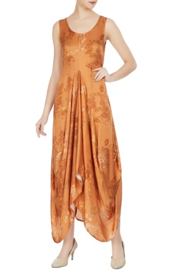 Roshni Chopra Orange cotton satin printed boxy dress