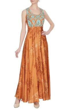 Roshni Chopra Orange cotton satin printed tunic with blue floral embroidery