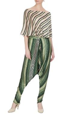 Roshni Chopra Beige cotton satin printed off-shoulder striped blouse