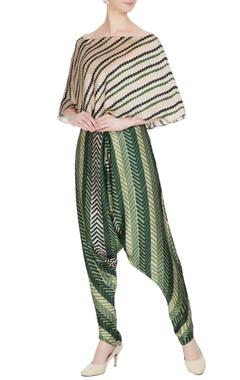 Roshni Chopra Green cotton silk printed cowl pants