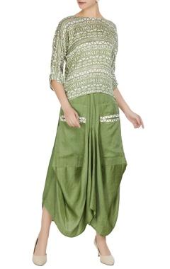 Roshni Chopra Green linen silk tribal printed boxy blouse