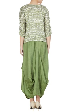 Green linen silk tribal printed boxy blouse