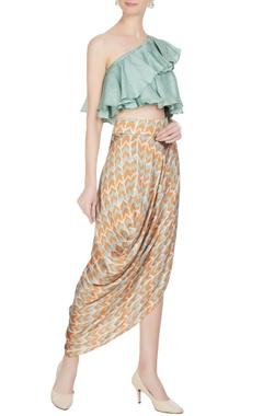 Roshni Chopra Orange & blue cotton satin printed drape skirt