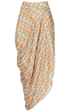 Orange & blue cotton satin printed drape skirt