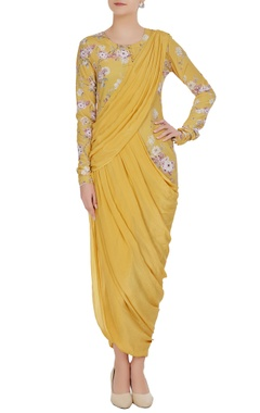Neha Khullar Floral printed tunic with draped layers
