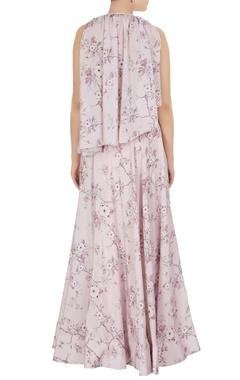Floral lehenga & pleated blouse
