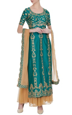 Rama green raw silk sequin jacket-style kurta set