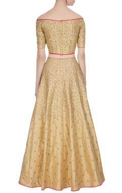 Gold-beige zari embroidered lehenga set