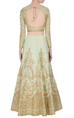Mint green sequin embroidered lehenga set