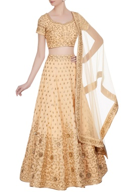 Peach sequin & zari embroidered lehenga set