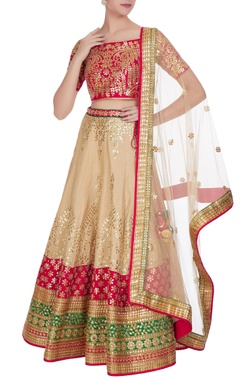 Pink raw silk gota patti lehenga set