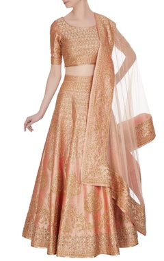 Peach zari & zircon embroidered lehenga set